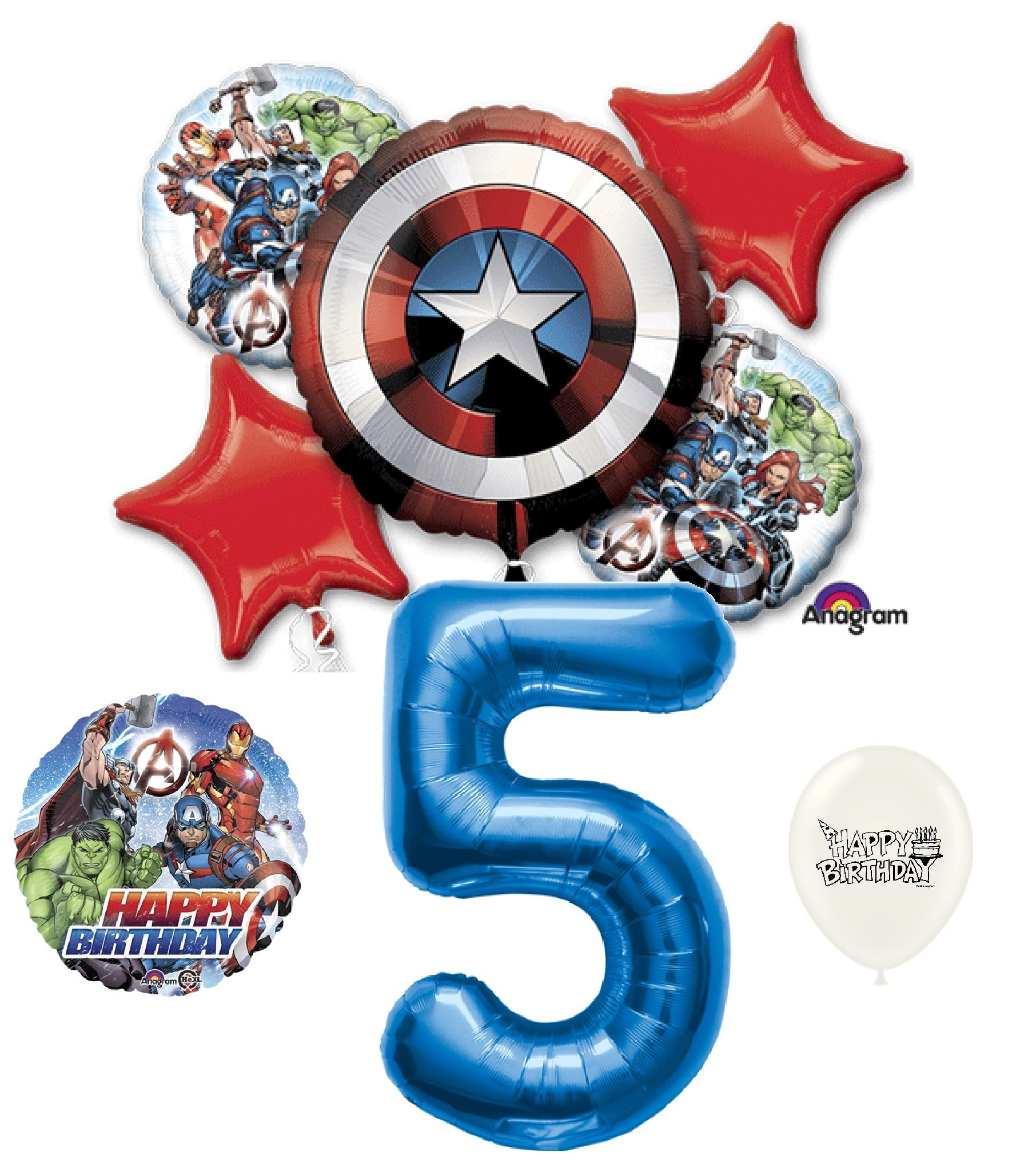 5th Birthday Blue Number Avengers Captain America Shield Balloons Bouquet Bundle