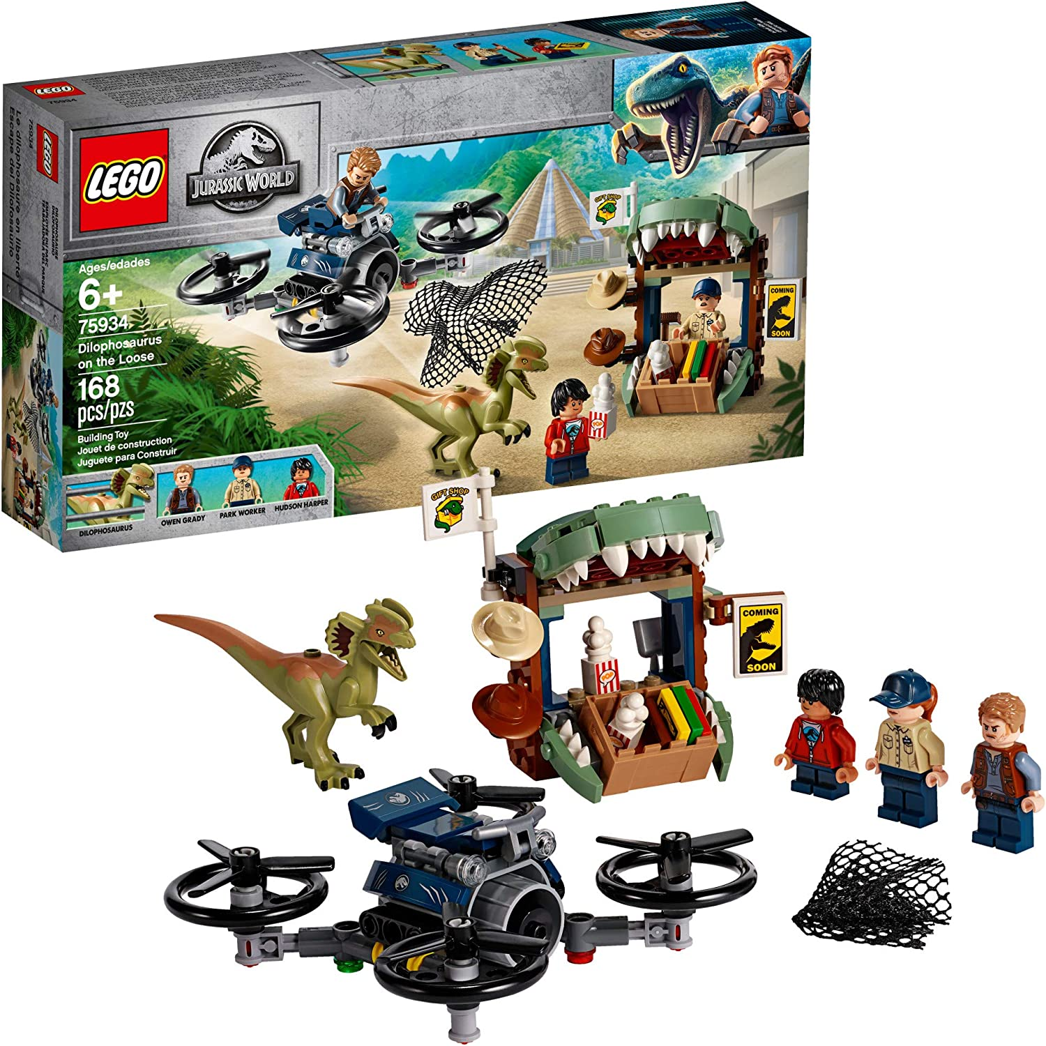 LEGO Jurassic World Dilophosaurus on The Loose 75934 Building Kit (168 Pieces)