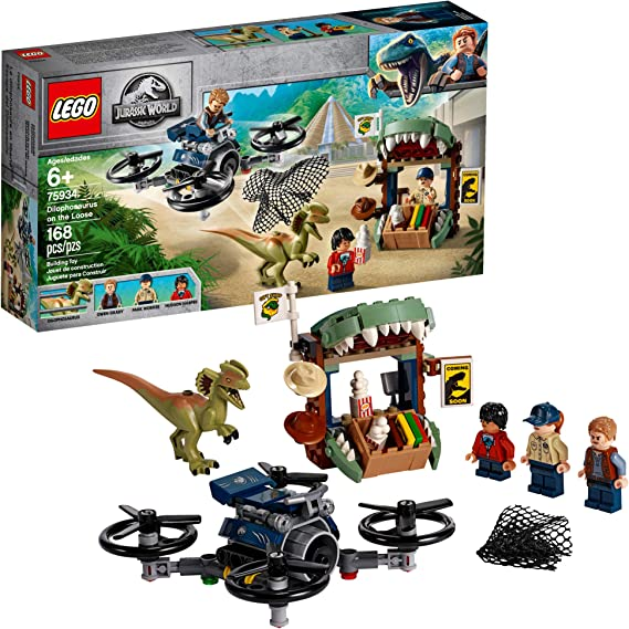LEGO Jurassic World Dilophosaurus on The Loose 75934 Building Kit, New 2019 (168 Pieces)