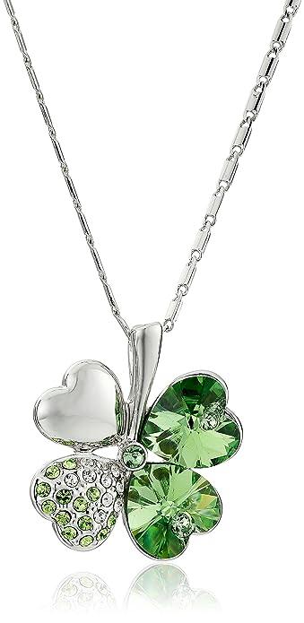 a5d51af57b45b Four Leaf Clover Heart Shaped Swarovski Elements Crystal Rhodium ...