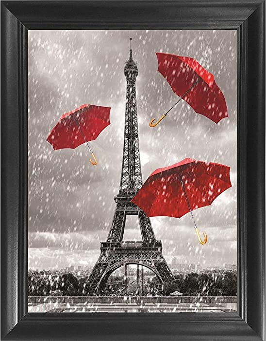 Eiffel Tower Black White & Red 3D Poster Wall Art Decor Framed Print | 14.5x18.5 | Lenticular Posters & Pictures | Memorabilia Gifts for Guys & Girls Bedroom | Paris France Iconic City Landmark Photo