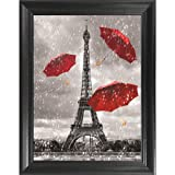 Eiffel Tower Black White & Red 3D Poster Wall Art