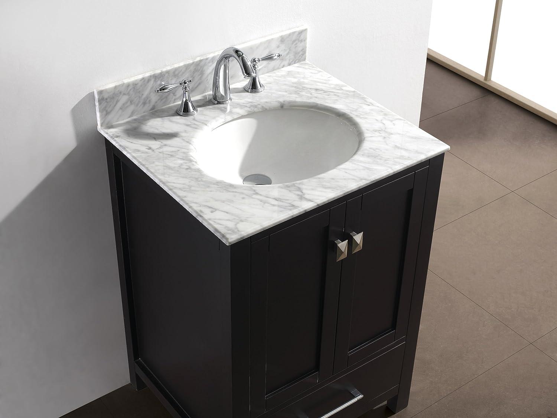 Gray bathroom vanities on pinterest view more bathrooms 187 bathroom - Virtu Usa Gs 50024 Wmsq Es Caroline Avenue 24 Inch Bathroom Vanity With Double Square Sinks In Espresso And Italian Carrara White Marble Bath Vanity