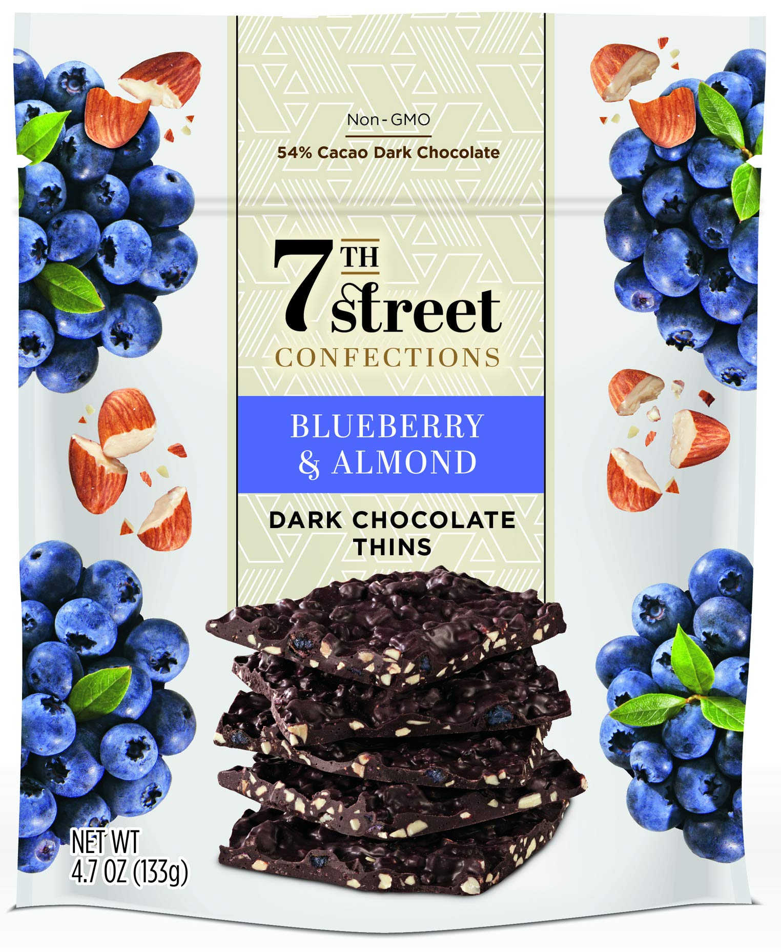 7th Street Confections: Blueberry and Almond Dark Chocolate Thins