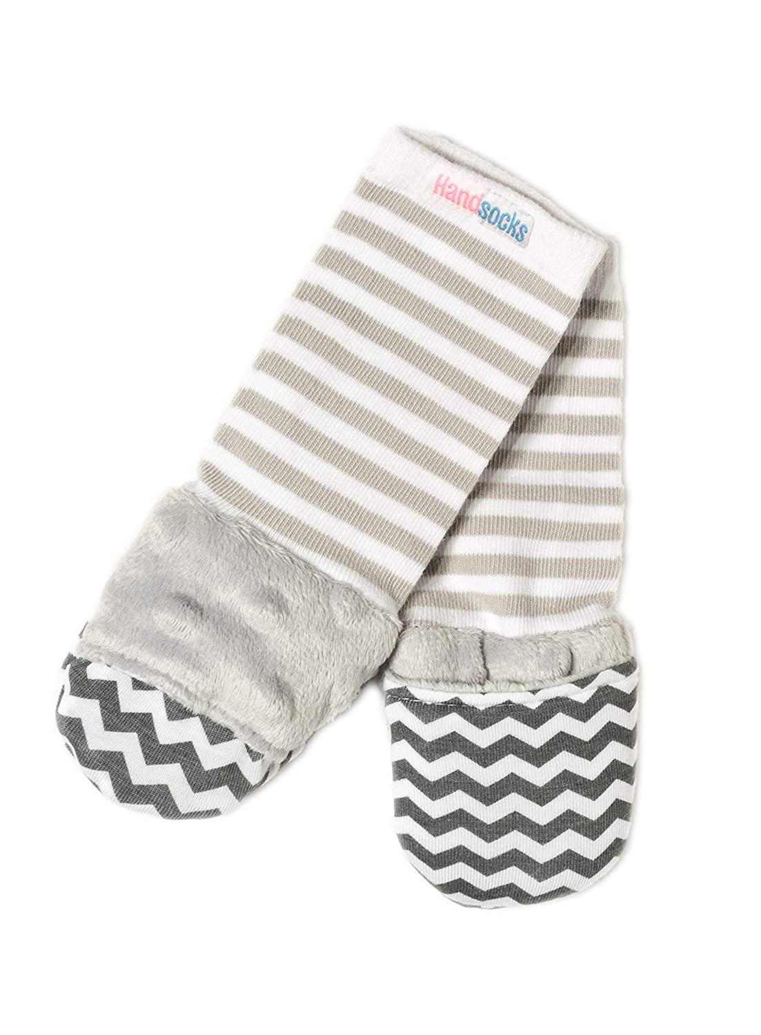 Handsocks Plushy Stay On Strap-Free No-Scratch & Warmth Mittens (Small (0-6 Months), Elodie (Grey Chevron))