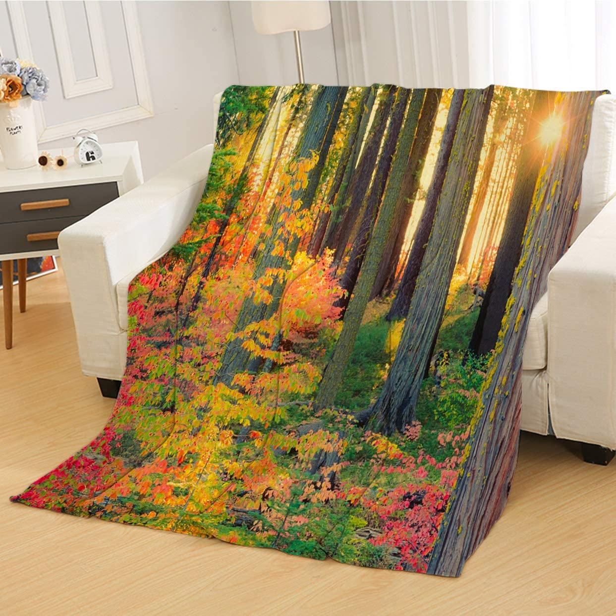 Amazon Com Rldsess Sun Warm Baby Blanket Soft Weighted Blanket Sun Bursts Through Autumn Forest In Yosemite P Super Soft Blanketry For Bed Couch Baby Size 31wx47l Inch Home Kitchen