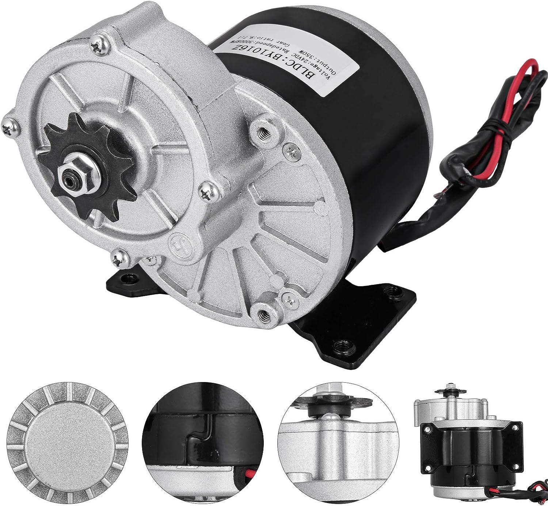 Moracle Motor Eléctrico 24 V y 350 W con Engranaje para Bicicleta con Reducción de Engranaje Motor Eléctrico DC para Go Karts E-Bike