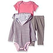 Hanes Ultimate Baby Zippin Pants, Short Sleeve Hoodie Bodysuit Set, Pink/Grey Stripe, 12-18 Months