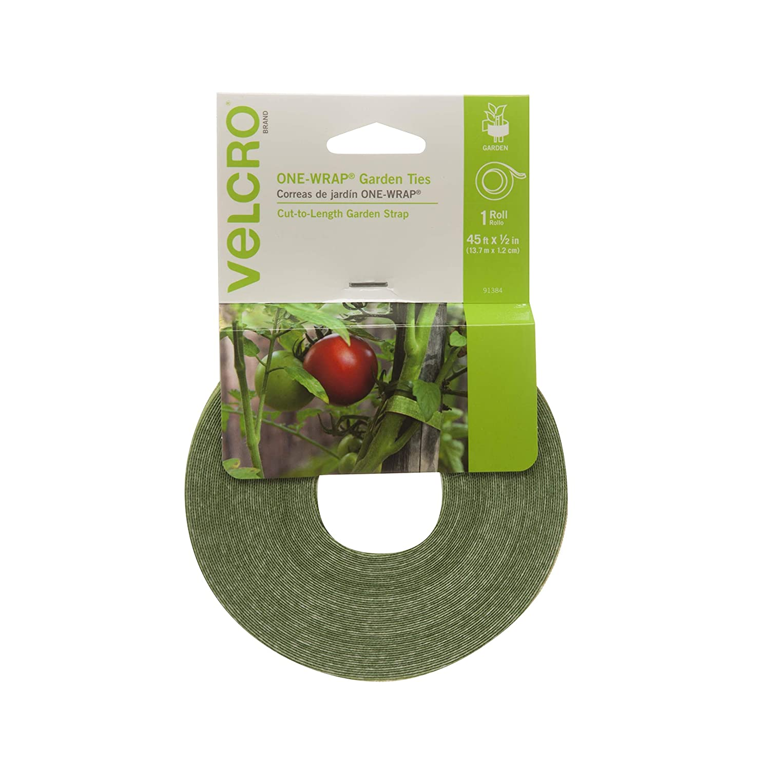 VELCRO Brand 91384 ONE-WRAP Supports for Effective Growing | Strong Gardening Grips are Reusable and Adjustable Gentle Plant Ties, 45 ft x 1/2 in Green
