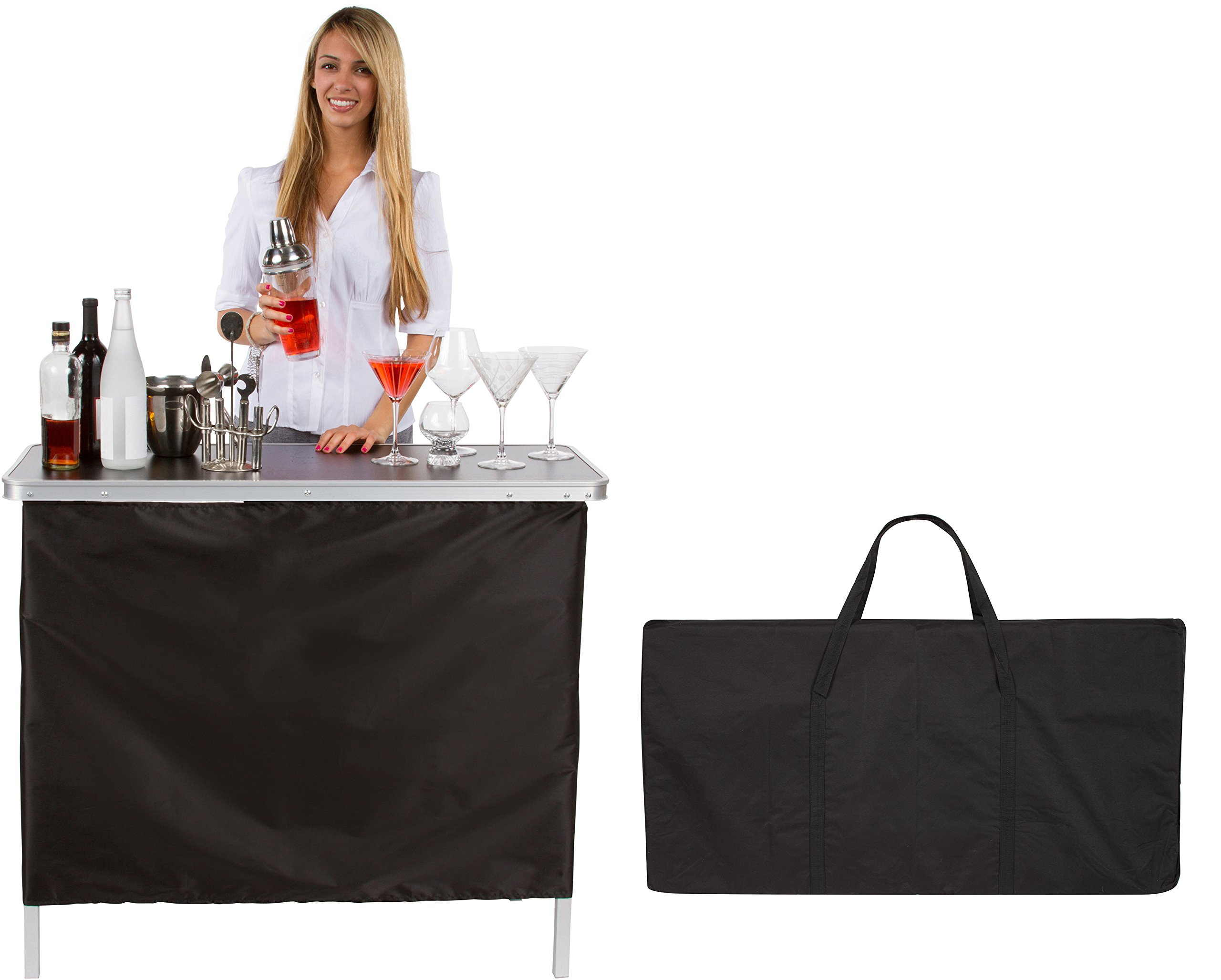Trademark Innovations Portable Bar Table - Two Skirts Included By (Green and Black Skirts)