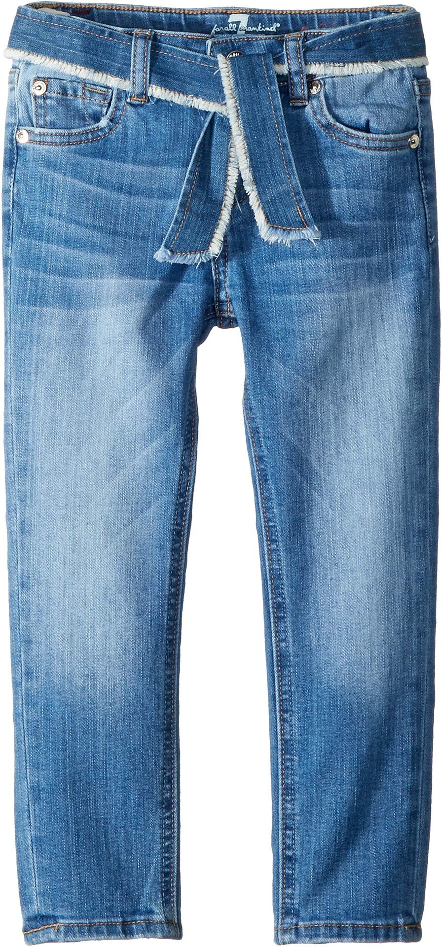 7 For All Mankind Kids Girl's Skinny Stretch Denim Jeans in Adelaide Bright Blue (Little Kids) Adelaide Bright Blue 5