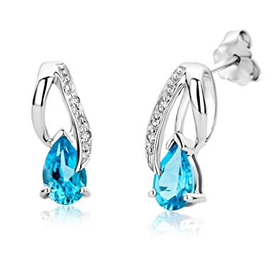 2c26a404d6286 Miore 9ct White Gold Diamond Set Teardrop Blue Topaz Stud Earrings ...