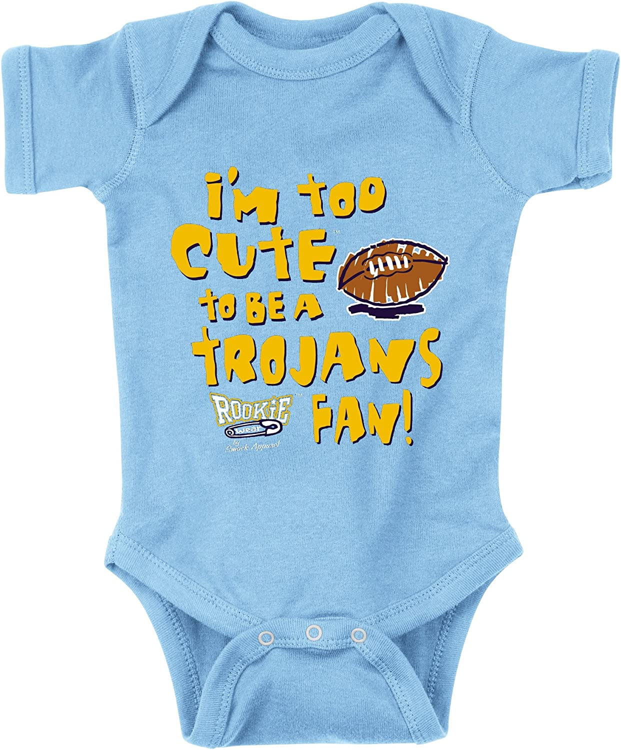 NB-18M Smack Apparel UCLA Bruins Fans Too Cute to Be A Trojans Fan Onesie 2T-4T or Toddler Tee
