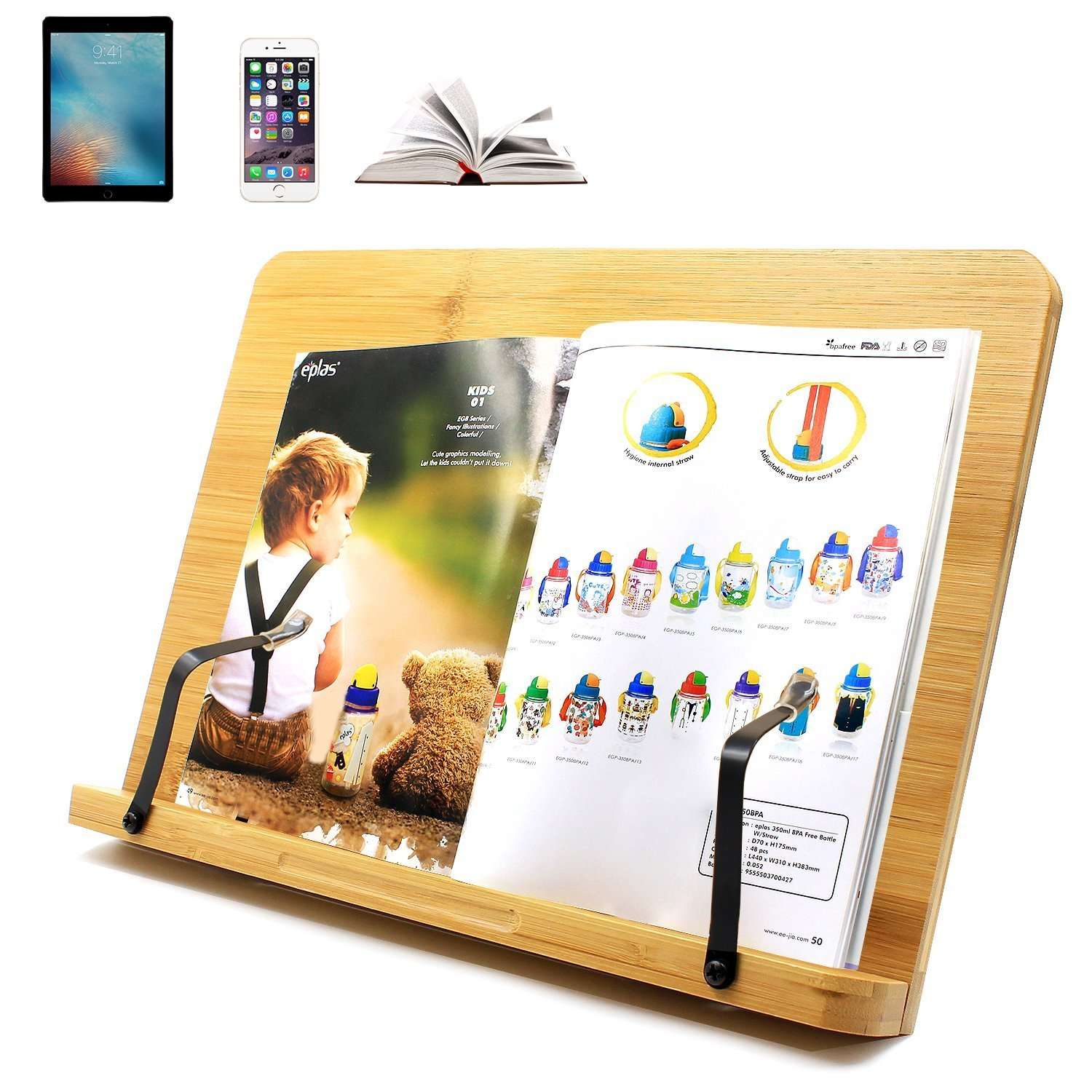 Book Stand holder PC Desk for Reading Rest Cookbook Foldable Tablet iPad Textbooks stands/BamBoo book holder/Cook Recipe/Musicbook/Multipurpose Portable Bookrest Adjustable angle
