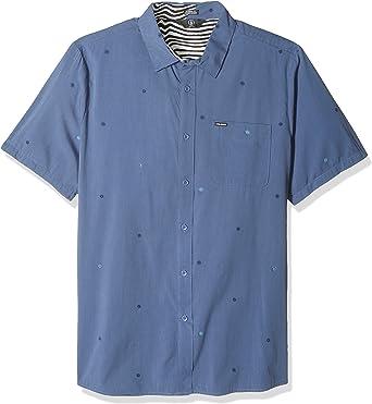 Volcom Hombre A0421800 Manga corta Camisa de botones - Azul ...