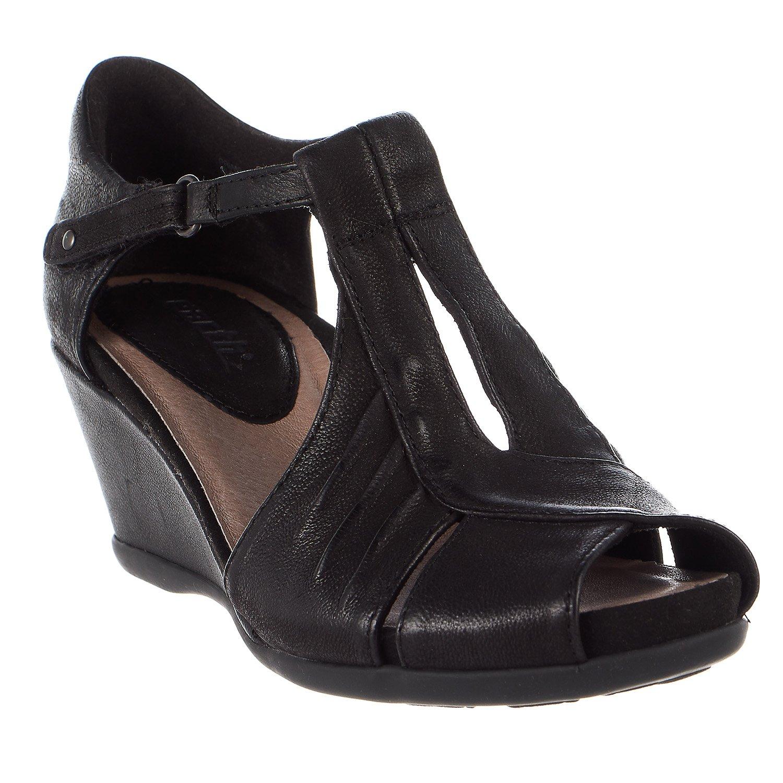 Earth Womens Primrose Black Tumbled Leather Sandal - 8.5