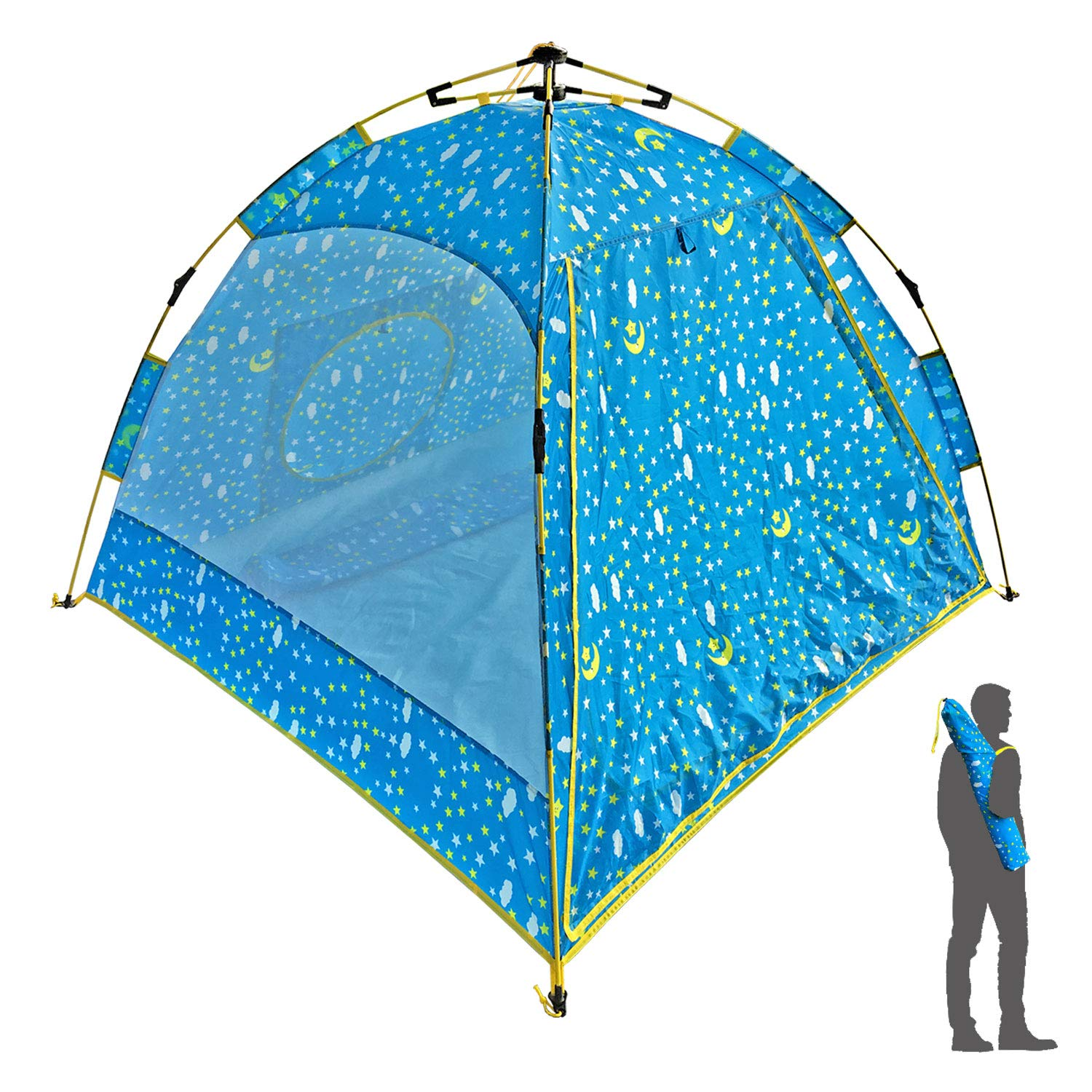 Pop-N-Go Kids Tent for Girls Boys Indoor Outdoor Adventure Fun with Carrying Bag - 58'' x 58'' x 43''- Blue Starry Sky