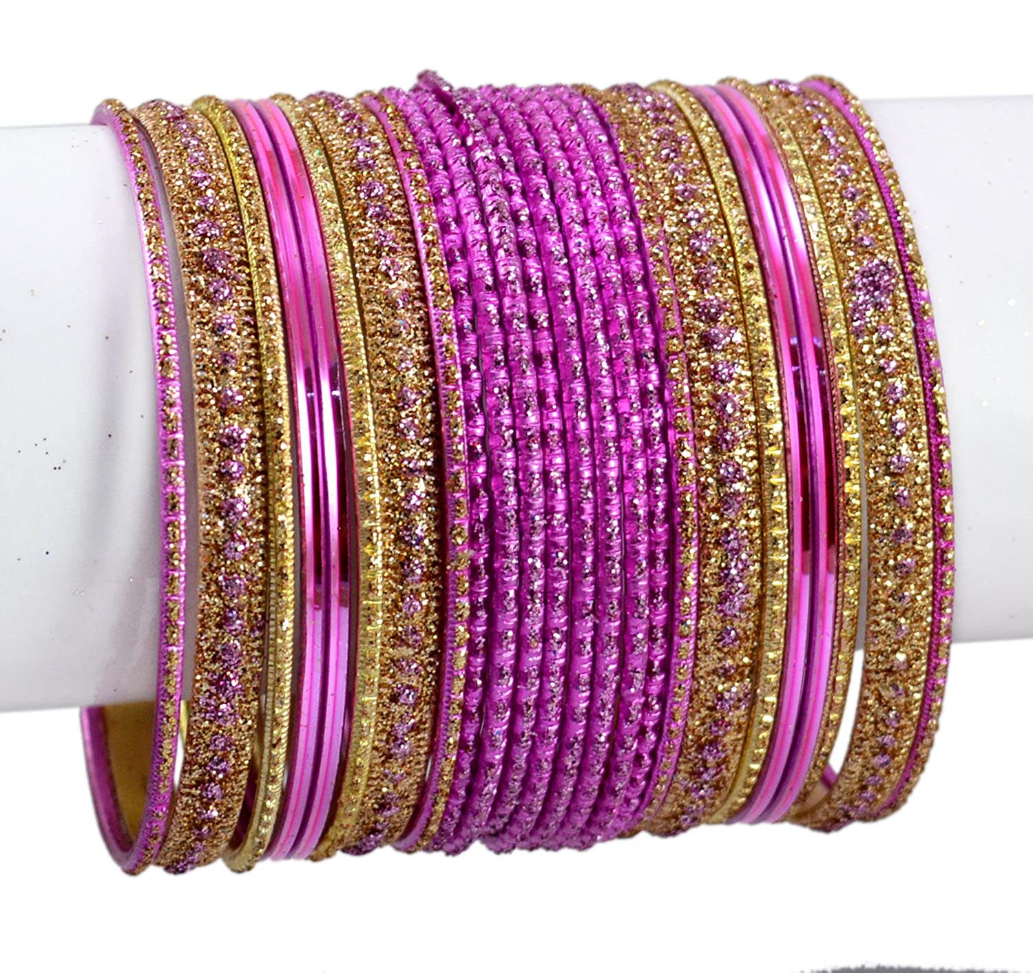 Chudi Jewelry Mazinta Pink Color Indian Bollywood Fashion Casual Wear Metal Bangles