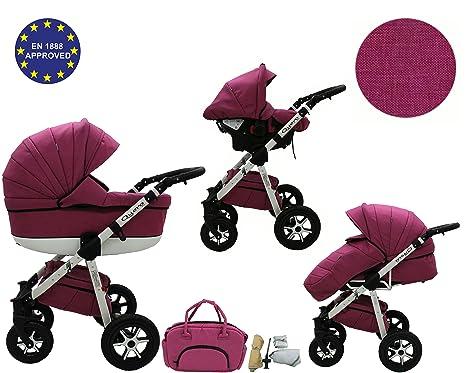 Quero, Edición de lino - Sistema de viaje 3 en 1, silla de paseo, carrito con capazo y silla de coche, RUEDAS GIRATORIAS y accesorios (Sistema de ...