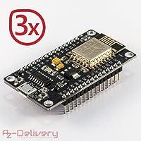 AZDelivery ⭐⭐⭐⭐⭐ 3 x NodeMCU esp8266 esp-12e WIFI Lolin Modulo V3 con CH340 per Arduino con eBook gratuito!