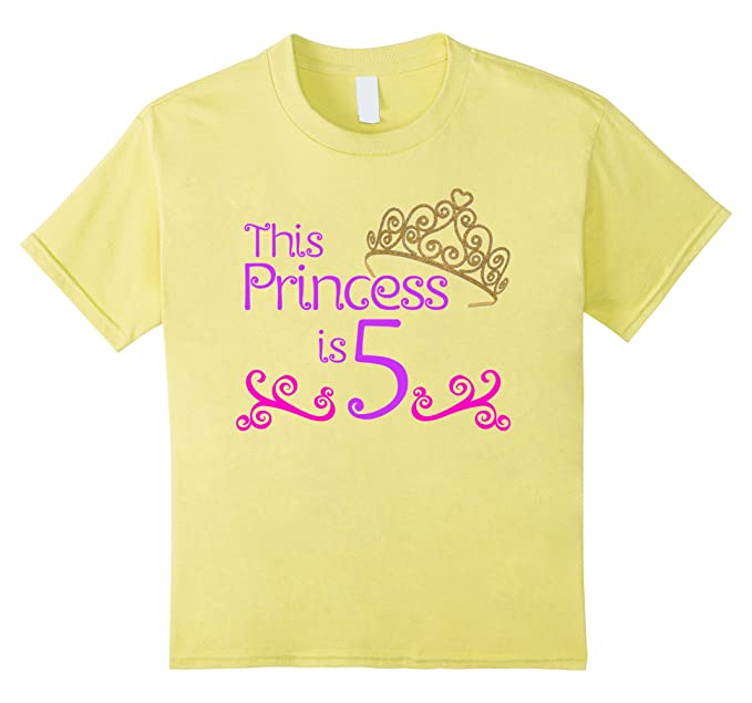 Kids 5th Birthday T Shirt For 5 Year Old Girls 4 Lemon