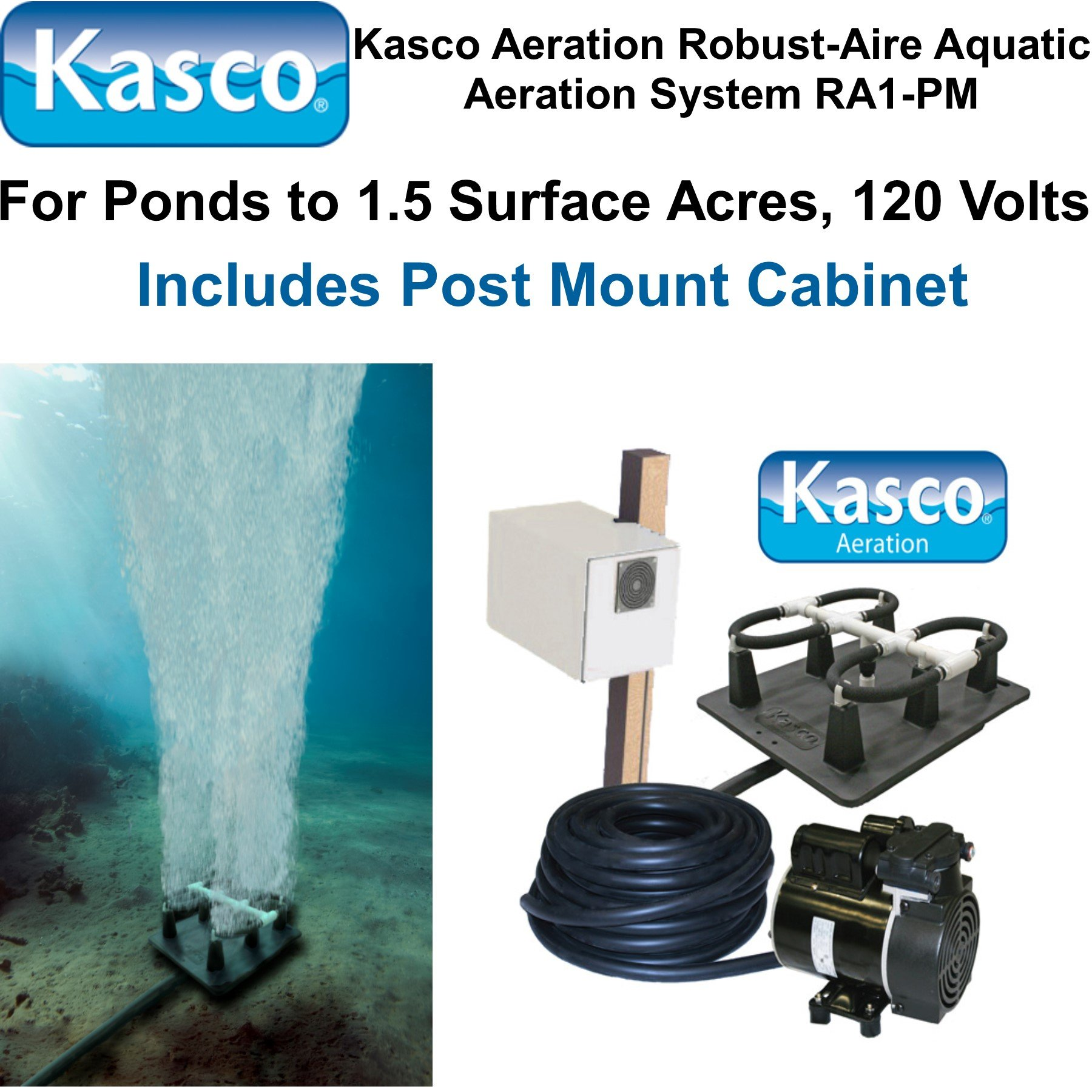 Kasco Marine Robust-Aire Aquatic Aeration System RA1PM - For Ponds to 1.5 Surface Acres, 120 Volts, Includes Post Cabinet Mount by Kasco Marine