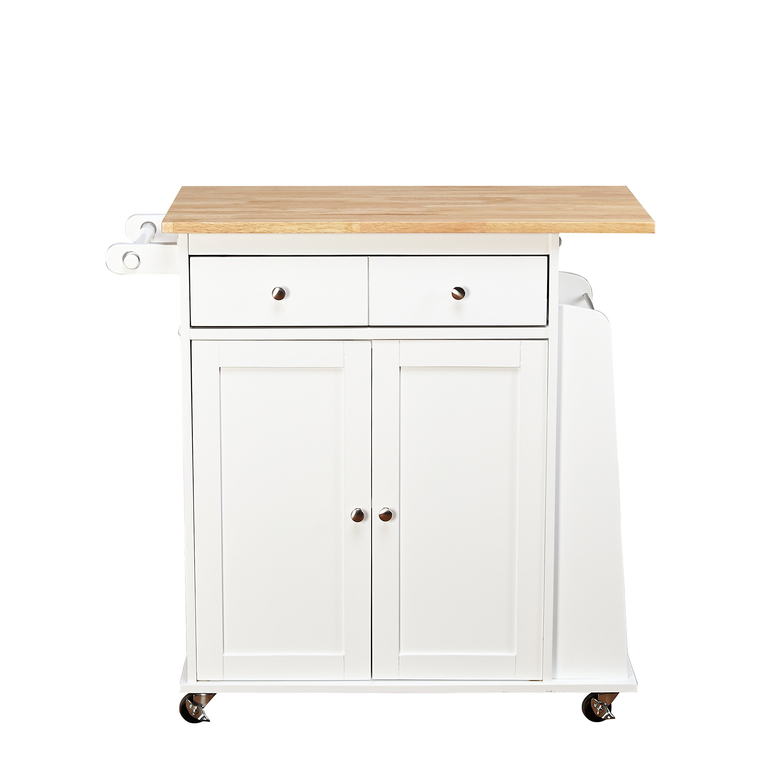 Target Marketing Systems Sonoma Collection Two-Toned Rolling Kitchen Cart with Drawer, Cabinet, and Spice Rack, White/Natural by Target Marketing Systems