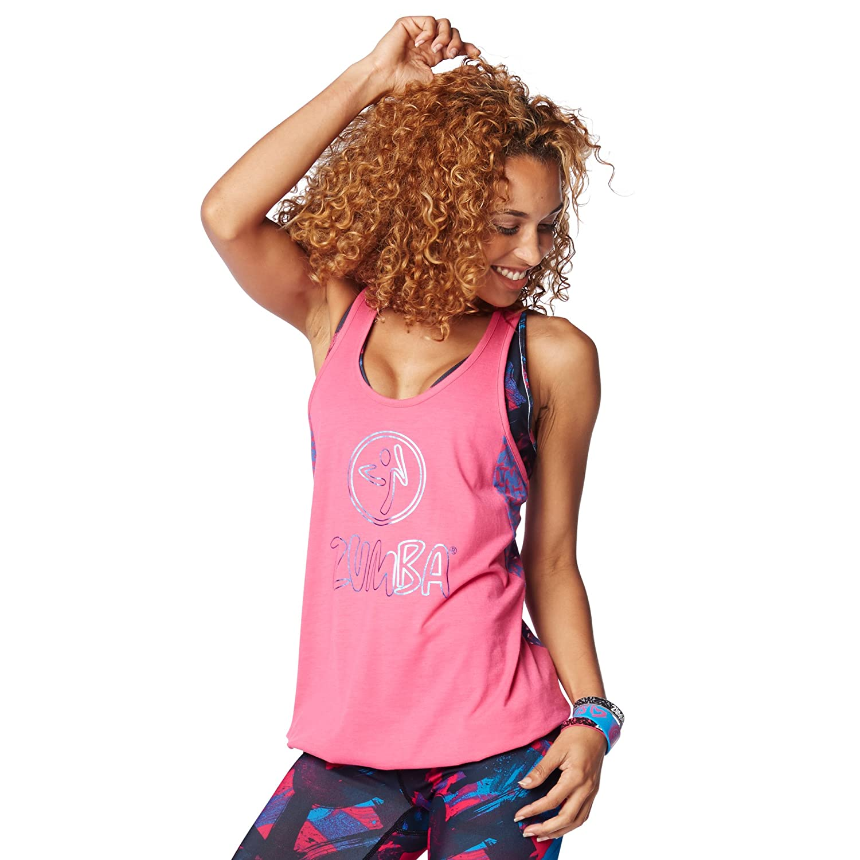 Zumba Fitness Funked Up Bubble - Camiseta sin mangas para mujer, color rosa, talla XL