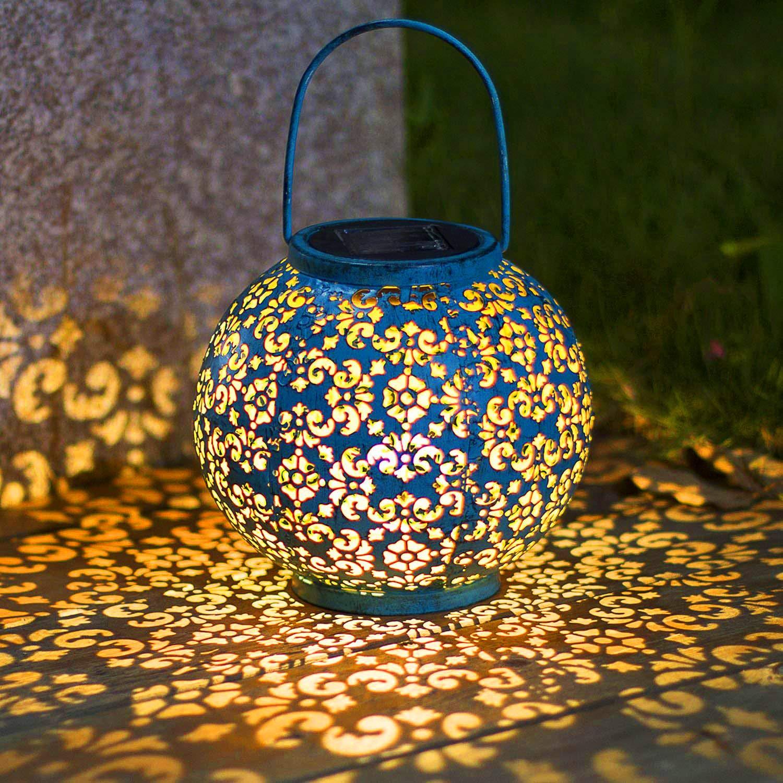 Solar Big Lantern Hanging Garden Outdoor Lights Metal Waterproof