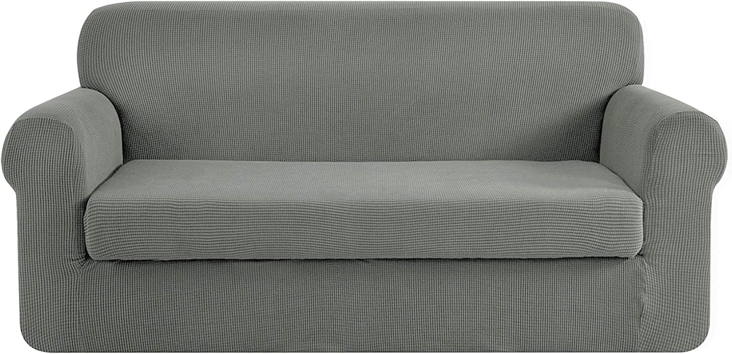 CHUN YI Stretch Sofa Slipcover 2-Piece Couch Cover Furniture Protector, Settee Coat Soft with Elastic Bottom, Checks Spandex Jacquard Fabric, Large, Dove Gray