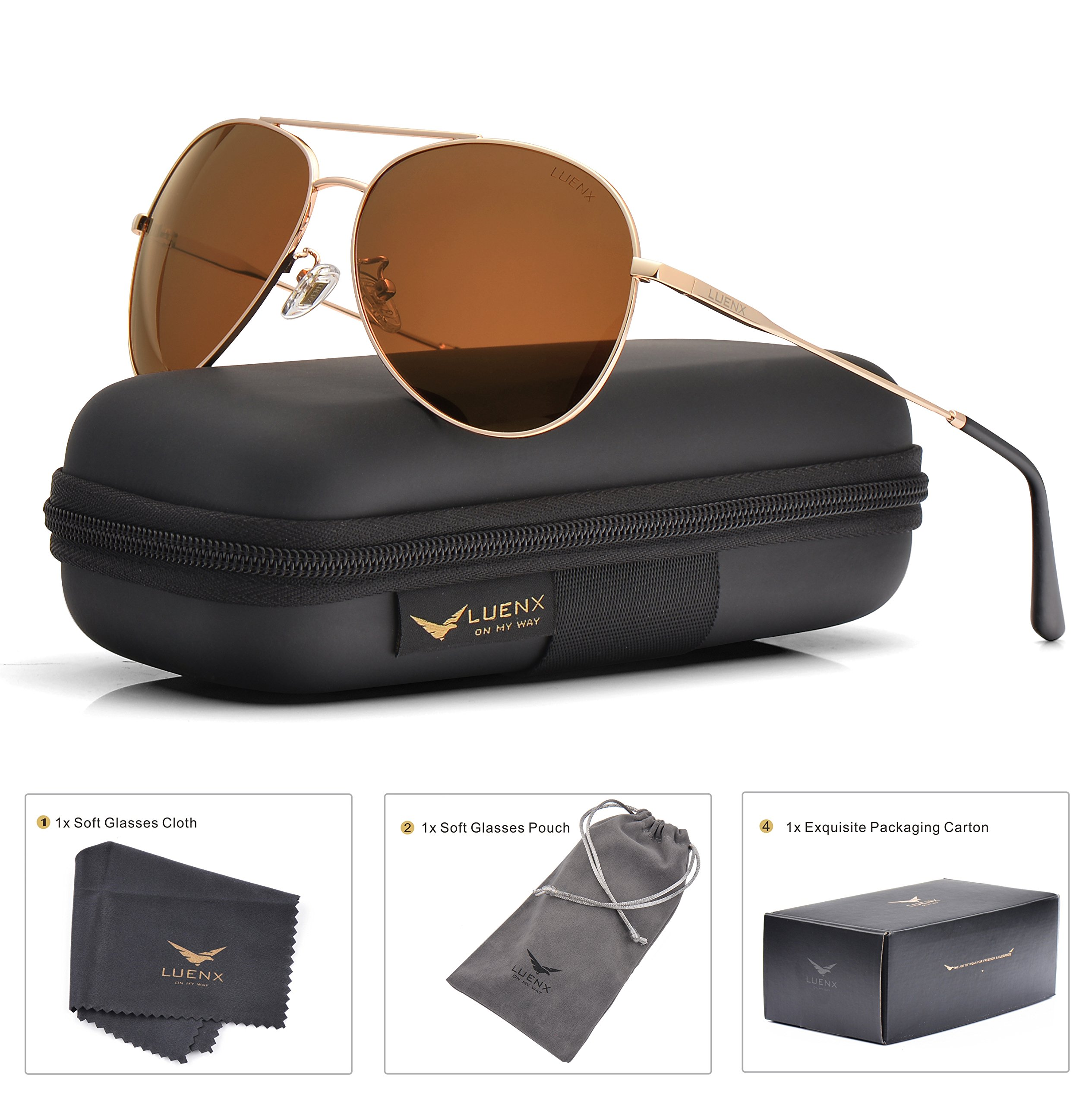 LUENX Men Women Aviator Sunglasses Polarized Brown Lens Metal Frame UV 400 59MM Driving Fashion with Accessories