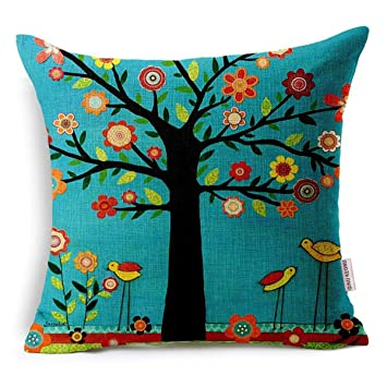 Oil Painting Black Large Tree and Flower Birds Cotton Linen Throw Pillow Case Cushion Cover Home