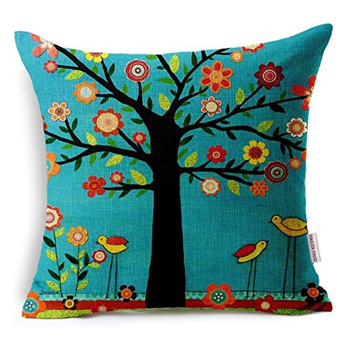 QINU KEONU Oil Painting Black Large Tree And Flower Birds Cotton Linen  Throw Pillow Case Cushion