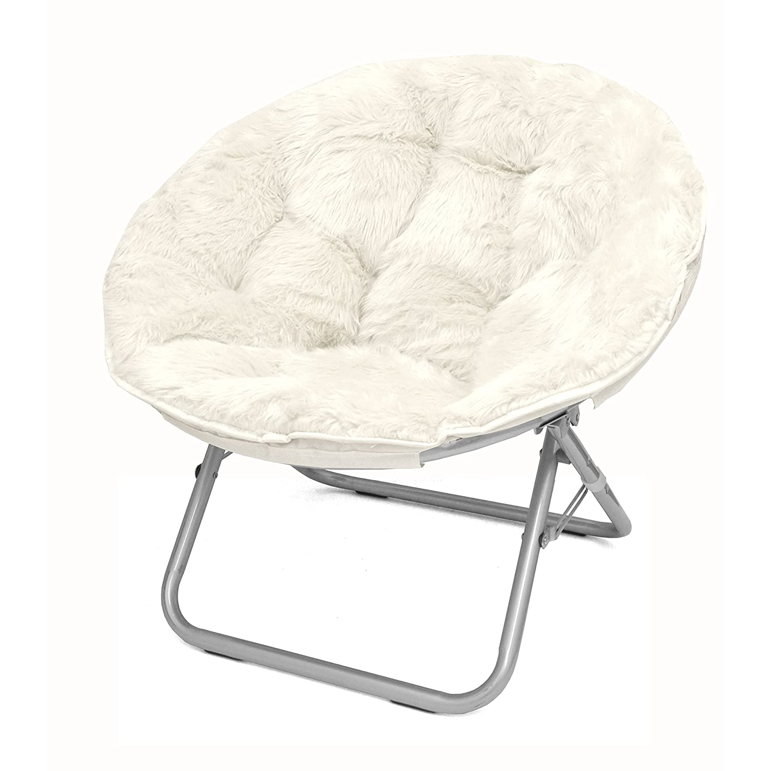 Amazing Mainstays Adult Faux Fur Saucer Chair 1 White Squirreltailoven Fun Painted Chair Ideas Images Squirreltailovenorg