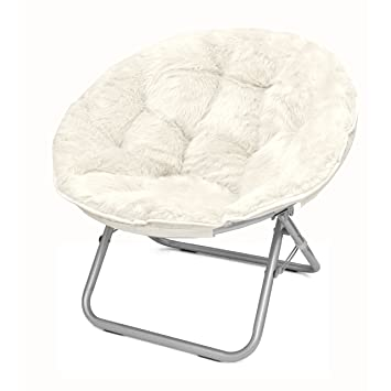 Amazoncom Mainstays Adult Faux Fur Saucer Chair 1 White