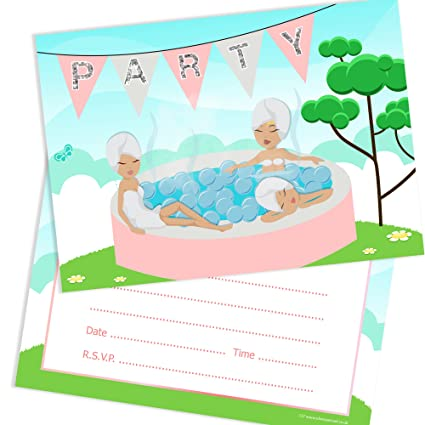Personalised BOYS Hot Tub Birthday Party Invitations Pool Party HOTTUB Invites