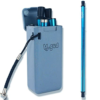 Collapsible Reusable Straw | BLUE Metal Stainless Steel Drinking Straw |  Eco-Friendly Wheat Hard Case | Final Includes Portable Keychain and Travel