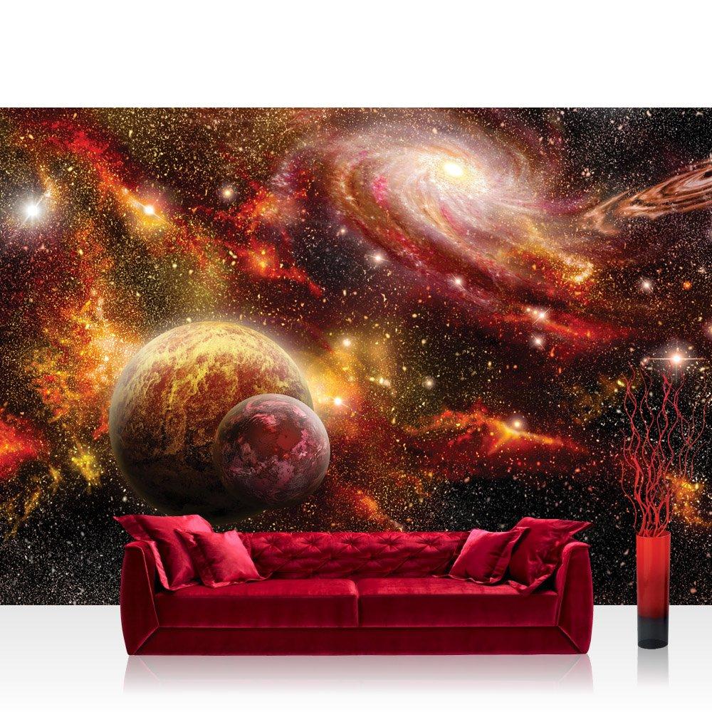 Vlies Fototapete 416x254cm PREMIUM PLUS Wand Foto Tapete Wand Bild Vliestapete - Himmel Tapete Weltraum Weltall Galaxy Sterne Planeten Himmel orange - no. 1379