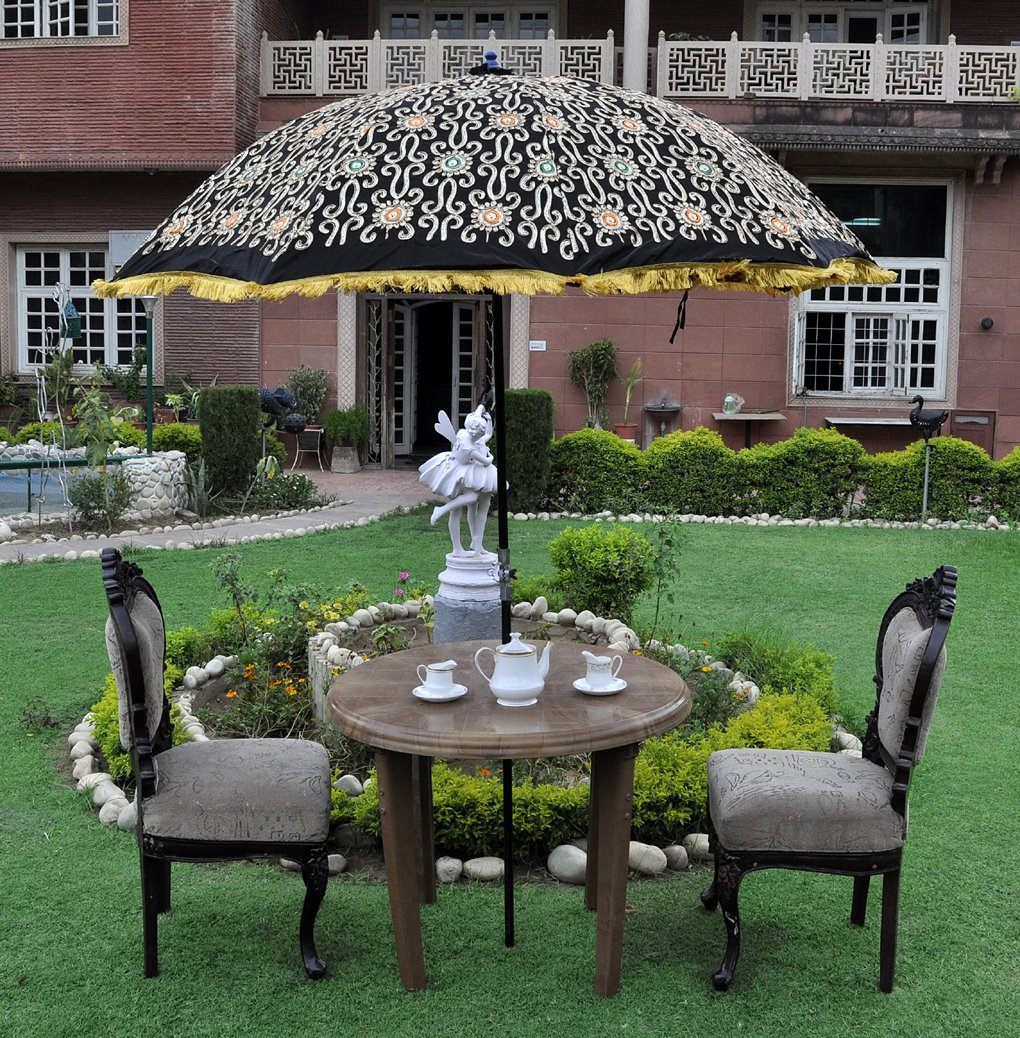 Handmade Embroidered Cotton Large Garden Umbrella Parasol Black Color 133 x 183 Cm Lal Haveli UML03952