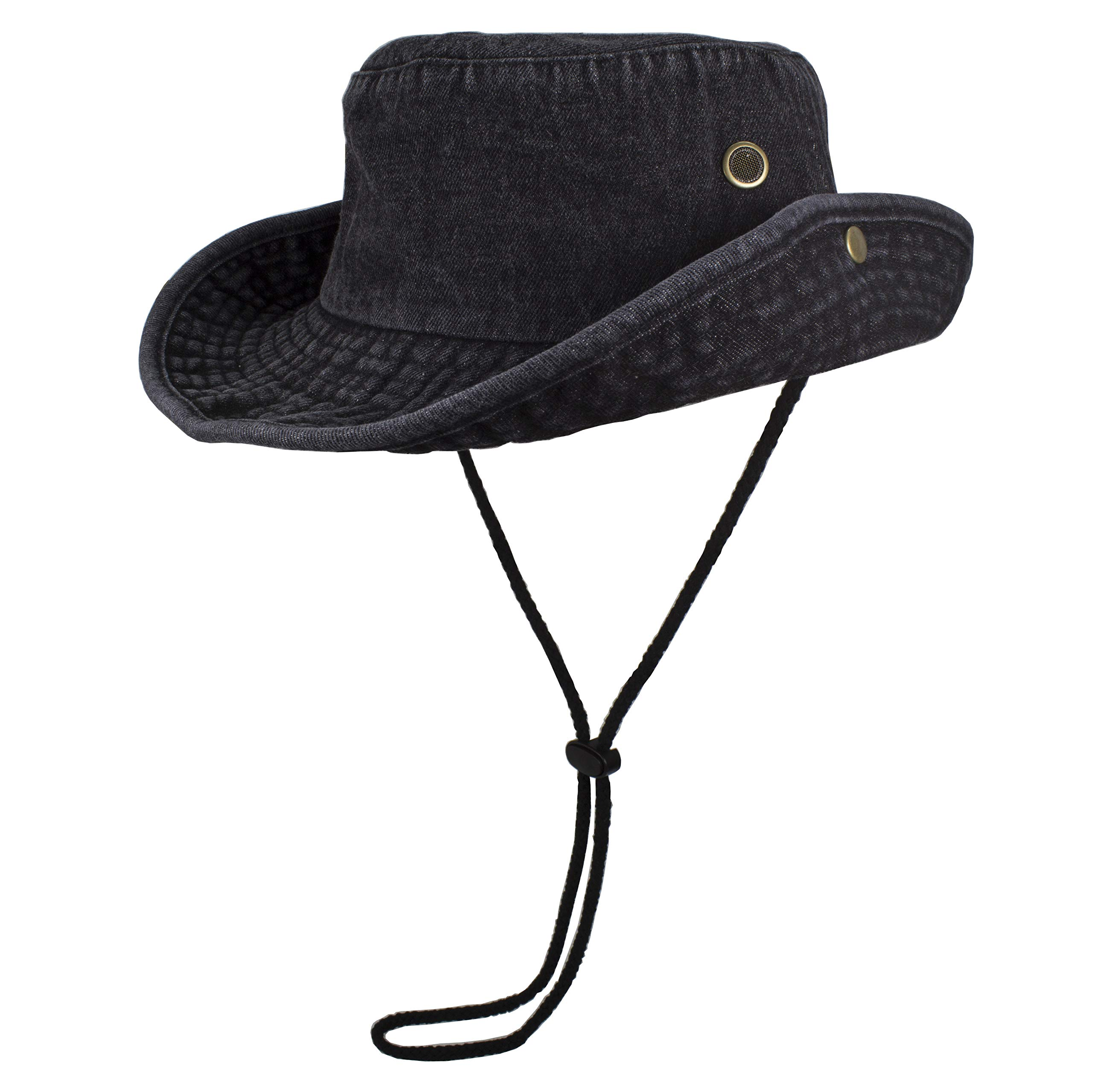 Gelante 100% Cotton Stone-Washed Safari Booney Sun Hats 1910-DenimBlack-S/M