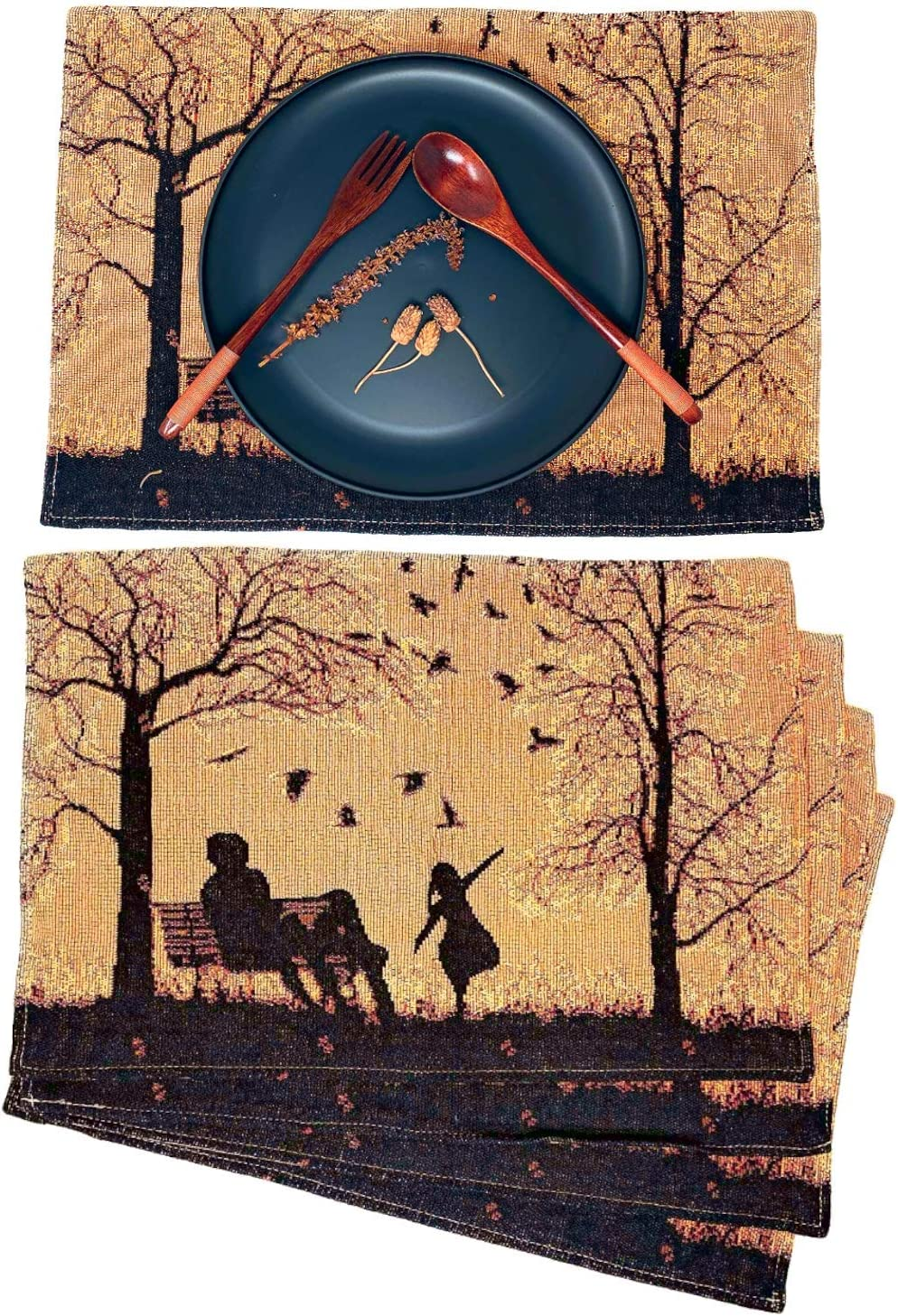 """DaDa Autumn Breeze Placemats - Set of 4 Tapestry Woven Cotton Linen Dining Table Mats Fall Decor - Family Cozy Blessing Gathering Together for Daughters Orange Tan Black Decorative - 13"""" x 19"""""""