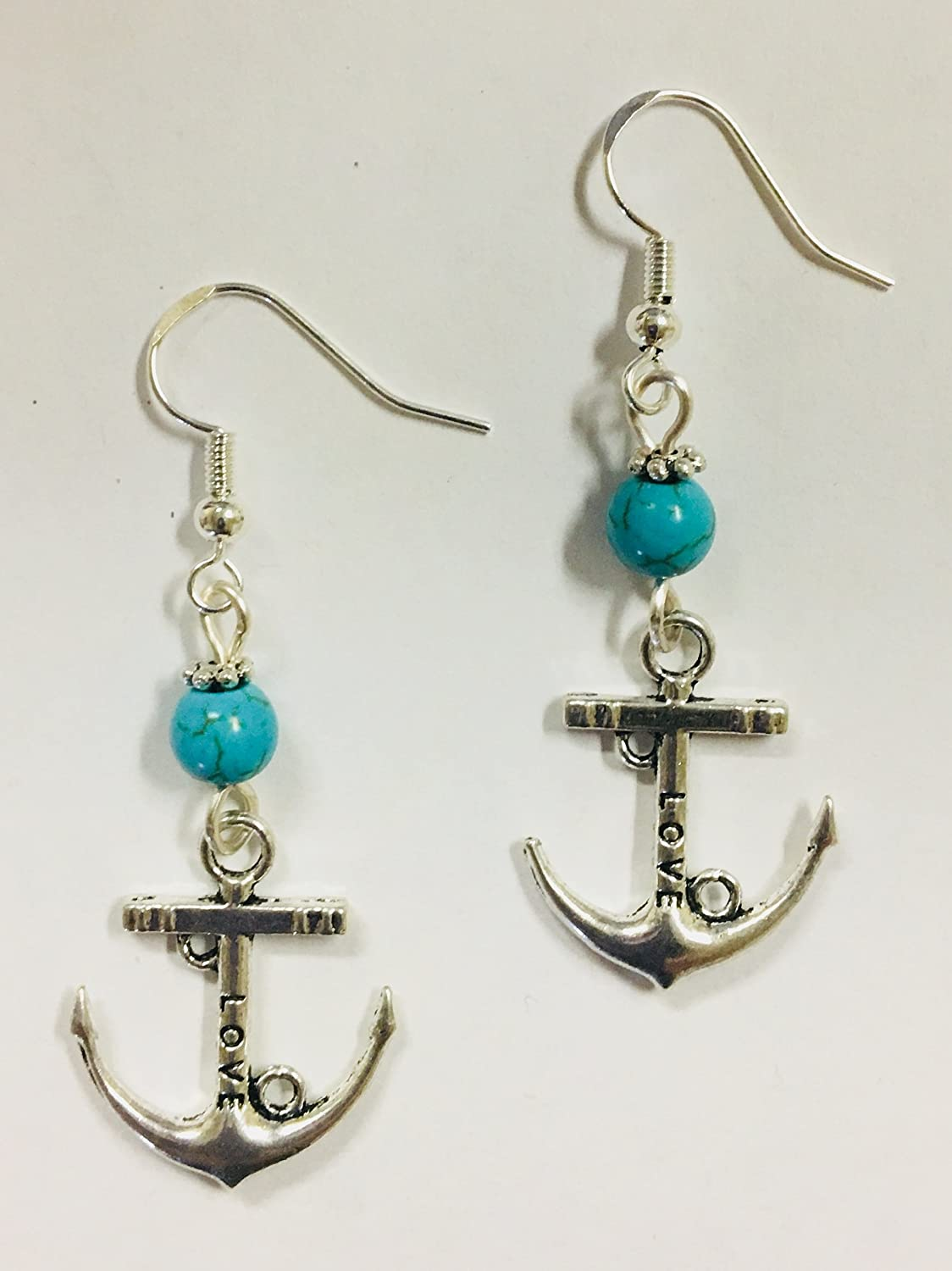 Anchor Earrings with Turquoise Stone Accent Beads on Sterling Silver Earwires