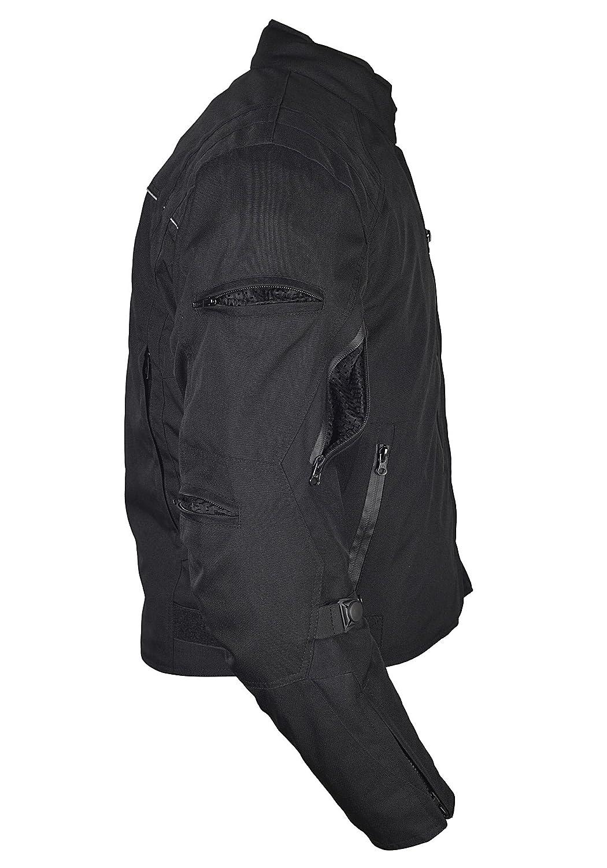 Men Motorcycle Waterproof Textile Race Jacket CE Protection Black MBJ057 L