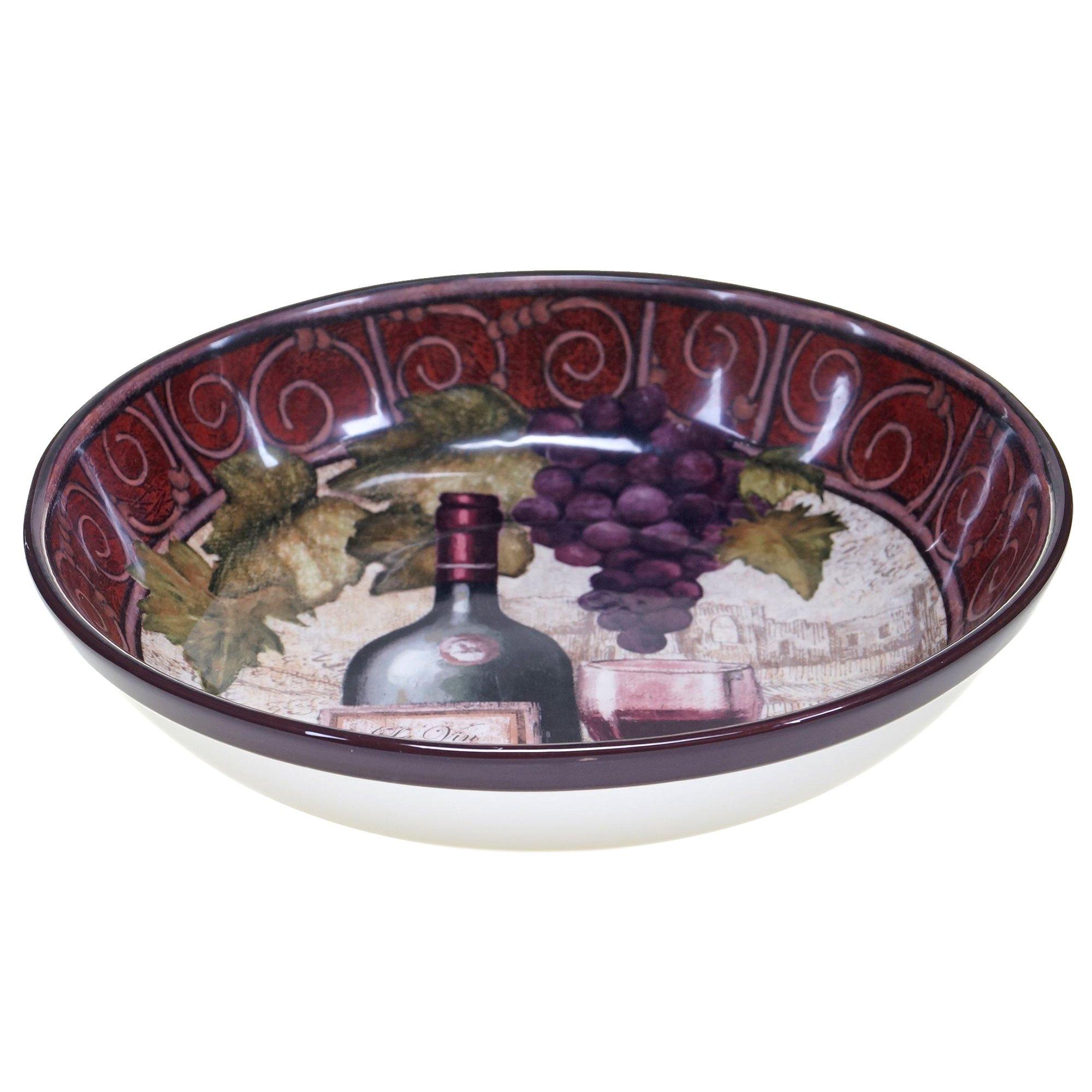 Certified International 57459 Wine Tasting Serving/Pasta Bowl, 13.25'' x 3'', Multicolor