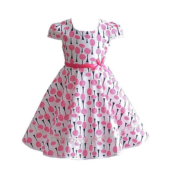 Cinda Vestido de Fiesta de Verano de Algodón Rosado de Las Muchachas ...