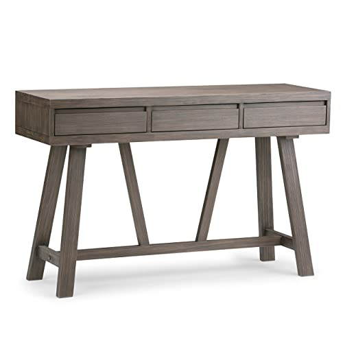 Simpli Home 3AXCDLN-04 Dylan Solid Wood 48 inch Wide Modern Industrial Hallway Console Table in Driftwood