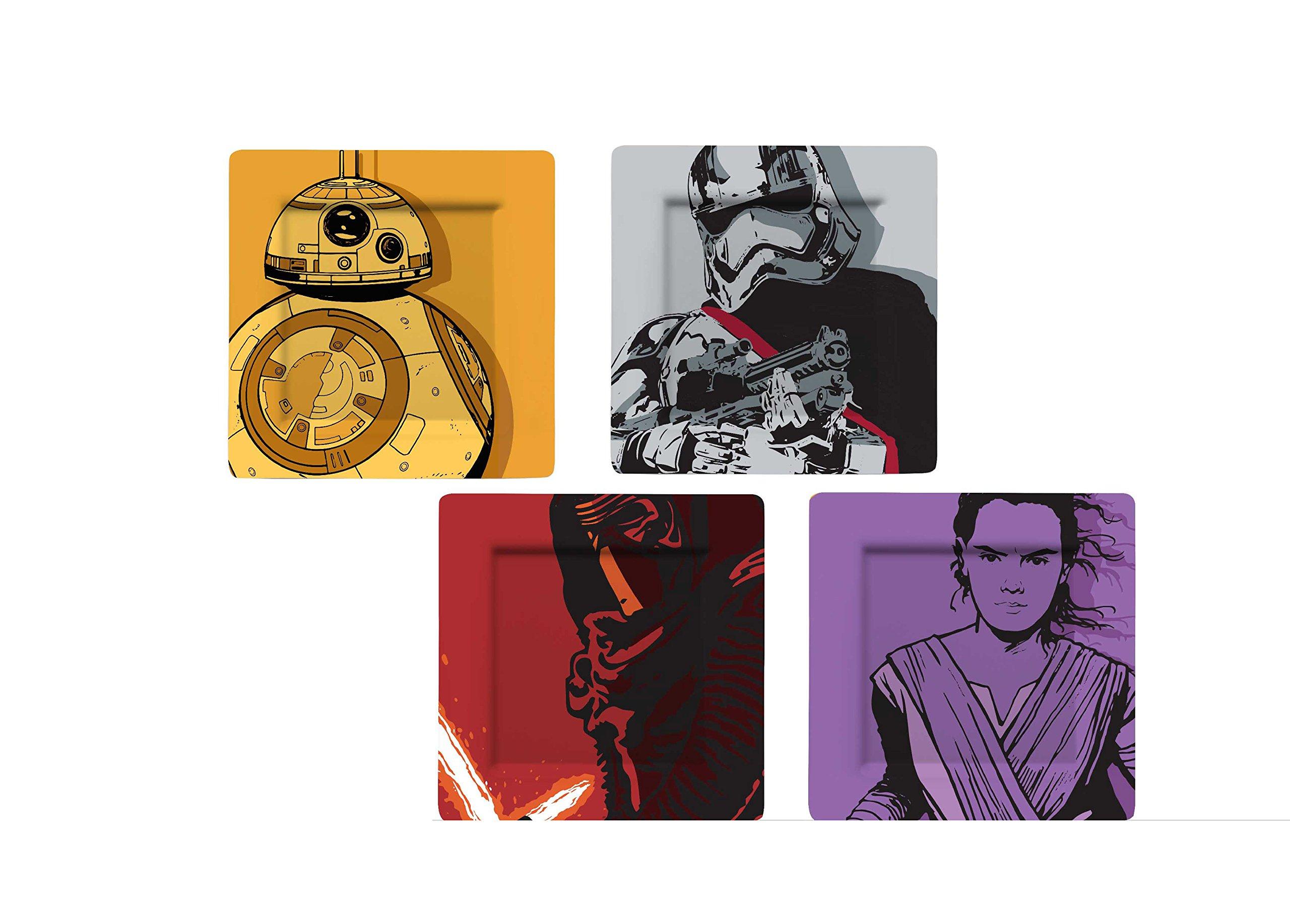 Star Wars Durable Melamine Plate Set (BB-8, Stormtrooper, Kylo Ren, Captain Phasma) Set of 4
