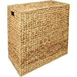 Water Hyacinth XXL Laundry Hamper Linen Basket Storage Bin Lined With 2 Removable Compartments