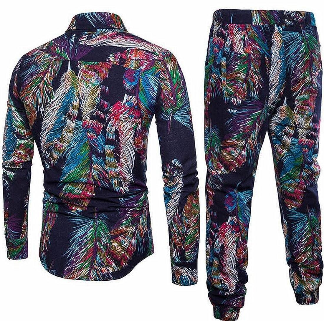 Spirio Mens 2 Piece Set Cotton Linen Printed Long Sleeve Button Down Shirts+Pants