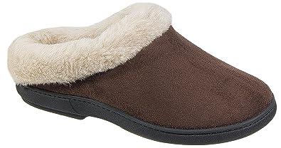 Womens Ladies Mule Slippers  / Brown Warm Lined Slip On Coolers 3 4 5 6 7 8